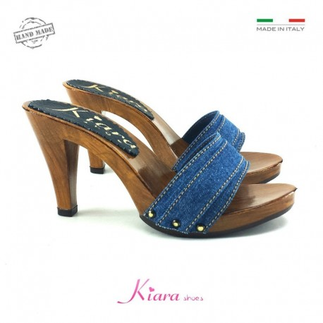 CLOGS IN DENIM HEEL 9