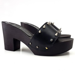 BLACK  CLOGS WITH POINTS - 9 CM