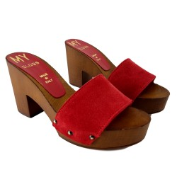 RED SUEDE CLOGS WITH HEEL 9 CM