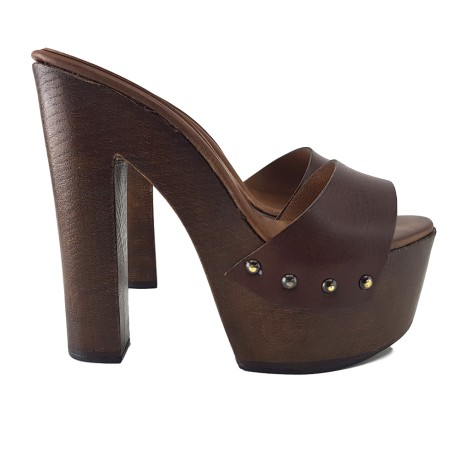 BROWN CLOGS LEATHER MADE IN ITALY