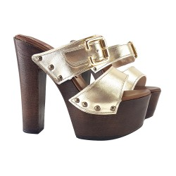 CLOGS LEATHER GOLD MADE IN ITALY