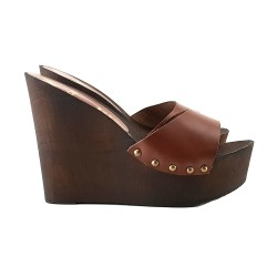LEATHER BROWN WEDGE CLOGS