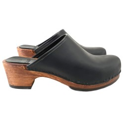 BLACK LEATHER CLOGS SIMPLE OPEN