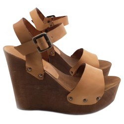 LEATHER WEDGE CLOGS