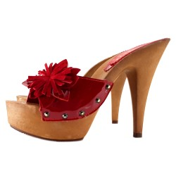 RED PATENT LEATHER HELL CLOG
