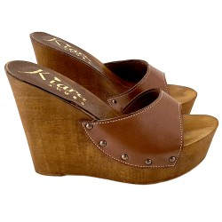 WEDGE LEATHER CLOGS