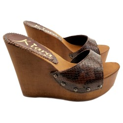 WEDGE LEATHER PYTHON CLOGS