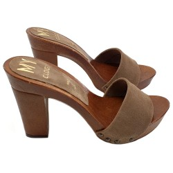 HOLZSCHUHE AUS LEDER IN TAUPE