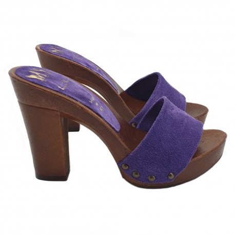 VIOLET CLOGS IN SUEDE