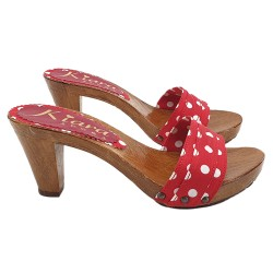 COMFY RED CLOGS POLKA DOT
