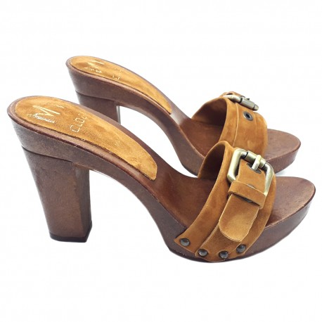 OLD STYLE BROWN CLOGS IN SUEDE