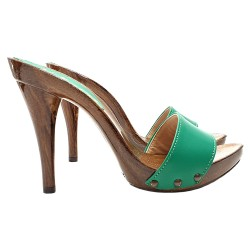 GREEN CLOGS HEEL 12