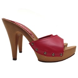 SANDALS WITH COLOURED LEATHER UPPER