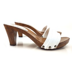 WHITE CLOGS HEEL 8