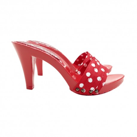 TOTAL RED CLOGS WITH POLKA DOT HEEL 9