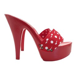 WOMEN'S RED CLOGS WITH POLKA DOT