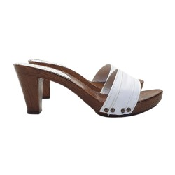 WHITE LEATHER CLOGS HEEL 8