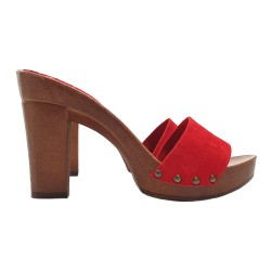 CLOGS RED COMFY HEEL
