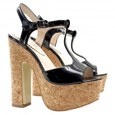 BLACK CORK SANDAL HEEL 15