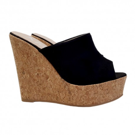 BLACK WEDGE CLOGS IN CORK HEEL 13
