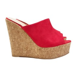 RED WEDGE CLOGS IN CORK HEEL 13