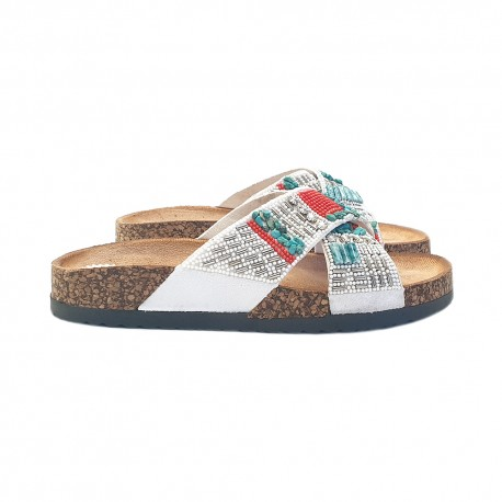 LOW SANDALS WHITE WITH BEADS