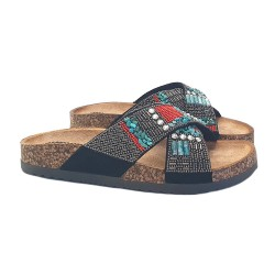 LOW SANDALS BLACK WITH BEADS
