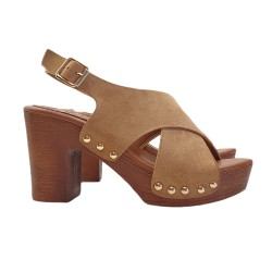 WOMEN'S SANDALS IN BROWN SYNTHETIC SUEDE HEEL 9