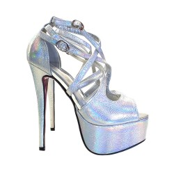 MULTICOLOR STILETTO HEEL SANDALS HEIGHT 14 CM