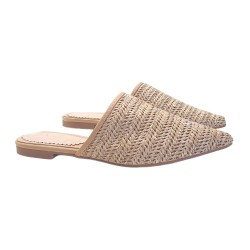 WOMAN'S LOW MULES IN RAFFIA