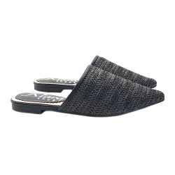 WOMAN'S LOW MULES BLACK IN RAFFIA