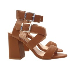 WOMAN'S FASHION SANDAL WITH DOUBLE ANKLE STRAP - HEEL 9 CM
