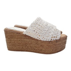WHITE WEDGE SANDAL HEEL 8