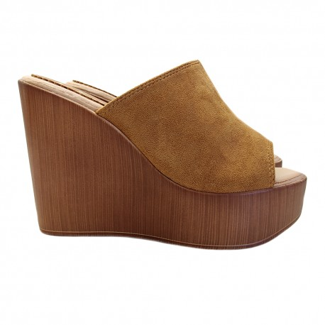 BROWN WEDGE WITH HEEL 12 WOOD EFFECT