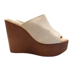 BEIGE WEDGE WITH HEEL 12 WOOD EFFECT
