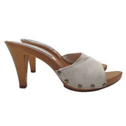 ICE COLURED CLOGS IN SUEDE HEEL 9