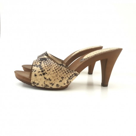 BEIGE CLOGS IN PRINTED PYTHON LEATHER HEEL 9