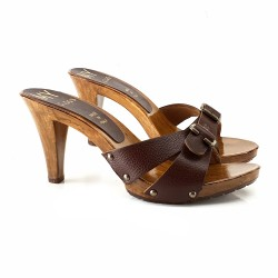 LEATHER BROWN CLOGS WITH BUCKLE HEEL 9