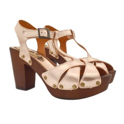 SANDALS IN LEATHER HEEL 10 WITH ANKLE STRAP