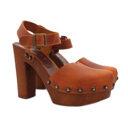 LADIES CLOGS 12 CM IN LEATHER SIZE 38