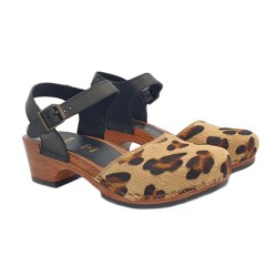 ANIMALIER CLOGS WITH HEEL 5 CM