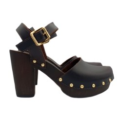 BLACK LEATHER CLOGS HEEL 9