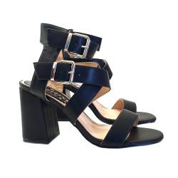 WOMEN'S BLACK SANDAL WITH DOUBLE ANKLE STRAP