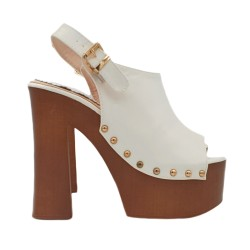WHITE MULES WITH ANKLE STRAP