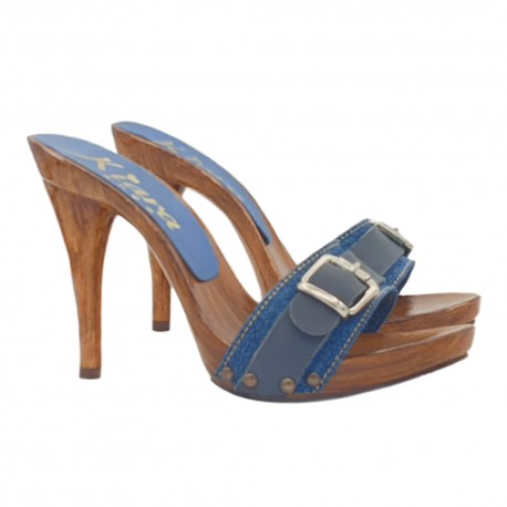 DENIM CLOGS WITH SILVER BUCKLE
