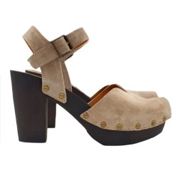 BEIGE CLOGS IN SUEDE HEEL 9