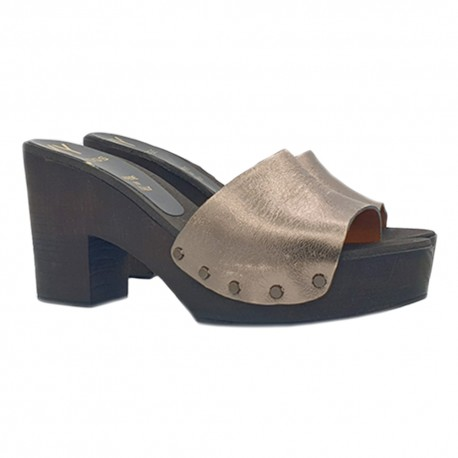 BRONZE CLOGS IN LEATHER HEEL 9