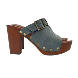 BLUE CLOGS IN LEATHER AND COMFY HEEL 9