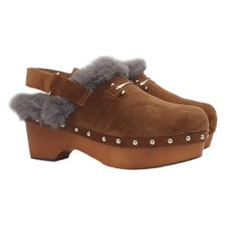 BROWN CLOGS IN SUEDE HEEL 6