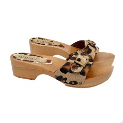 LEOPARD LEATHER SWEDISH CLOGS IN WOOD